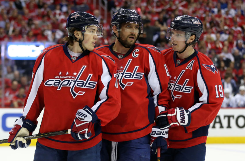 Apr 13, 2017; Washington, DC, USA; Washington Capitals right wing T.J. Oshie (77) and eft wing Alex Ovechkin (8) and center Nicklas Backstrom (19) talk on the ice against the Toronto Maple Leafs in game one of the first round of the 2017 Stanley Cup Playoffs at Verizon Center. The Capitals won 3-2 in overtime. Mandatory Credit: Geoff Burke-USA TODAY Sports
